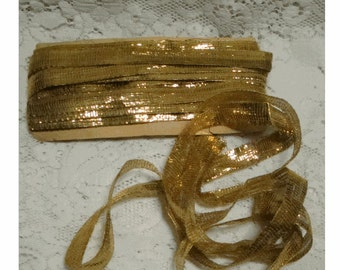 METALLIC GOLD Lamé Ribbon - Vintage 1920's Yardage