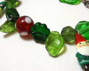 Gnome Family Bracelet - Acrylic gnome charms with bright green glass beads - Woodland Charm Bracelet