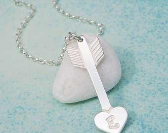 Personalized Sterling Silver Arrow with Heart Necklace, Cupid's Arrow, Arrow with Initial, Personalised Arrow, Valentines Gift, Love Arrow