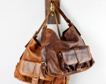 Leather Handbag, Purse Pocket Tote Bag, Brown