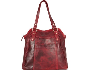 Large Red Leather Handbag Tote