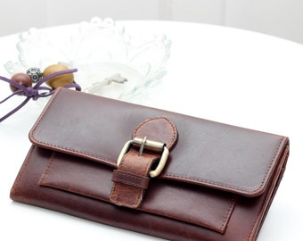 Ladies Leather Buckle Wallet,  Antique Brown