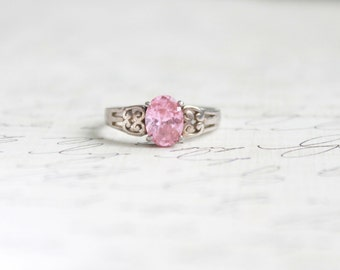 Vintage 1930s Pink Solitaire Ring • Vintage 30s Pink Ice Engagement Ring • Sterling Silver Promise Ring • Antique Fine Jewelry