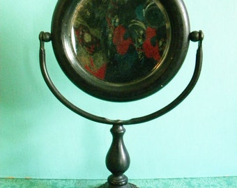 Antique Shaving Mirror Black Wood with Cast Iron Base Victorian Gothic Halloween Prop