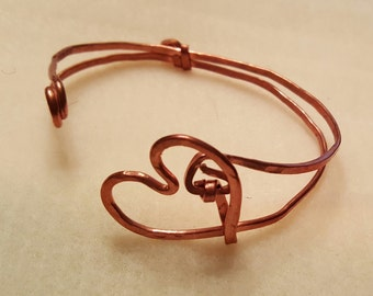 Copper Heart Cuff Bracelet