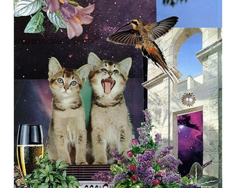 Gemini - StarCat - Zodiac Astrology Art Print - Cat Lover gift, gift for Taurus, May June birthday