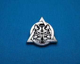 Tribal Wolf Therian Symbol, Otherkin, Silver Pewter Boot Lacing, Bracelet Charm STK212C