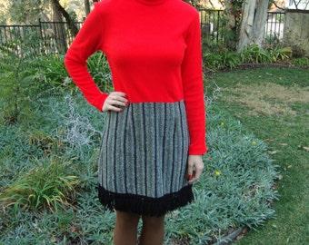 Vintage 70s Red Knit & Tweed Dress S/M