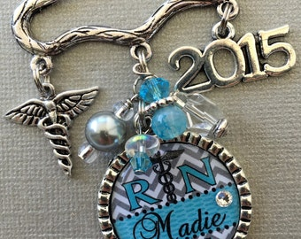 RN jewelry, Nursing Pinning Ceremony, Nurse Graduation, Custom gift, RN brooch, Nurse graduate, Class of 2017 caduceus RN pin, nurse jewelry