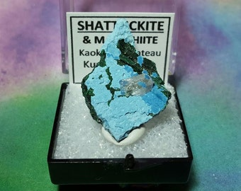 SHATTUCKITE And MALACHITE Natural Mineral Specimen In Perky Box From Namibia