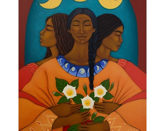Mother Maiden Crone Triple Moon Goddess Art Print of Original  Painting by Tamara Adams