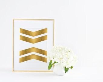 Gold Chevron Geometric Art Print, Digital Printable Home Office Wall Art Decor, Gold Nursery Artwork Decor Golden Minimalist Modern Wall Art