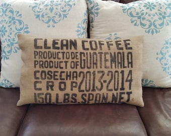 Reclaimed burlap coffee sack pillow in black