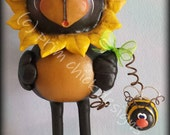 HUMPHREY hand painted gourd sunflower black bear bee flower teamhaha HAFAIR ofg prim chick lisa robinson
