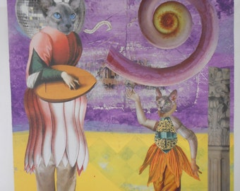 ORIGINAL COLLAGE, Original Art, Kitty Cat Art, Animal Narrative Collage, Paper Collage, Paper Crafts, Whimsical Collage, Fun Decorative Art