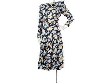 Vintage 80s Dress - 80s Drop Waist Dress - Secretary Dress - Backless Dress - Cutout Dress - Black Pink Purple - Rayon Floral Dress - 90s