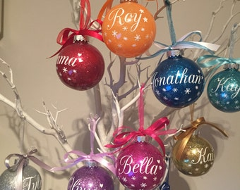 8 x Personalised Christmas Baubles