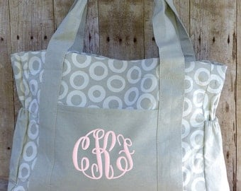 Personalized Diaper Bag Gray White Monogrammed Girl Boy Grey Canvas Large