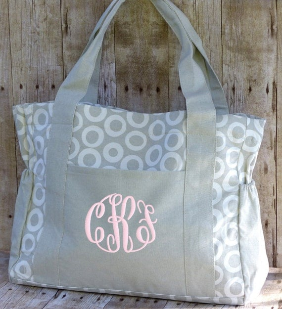 Personalized diaper bag gray white monogrammed girl by