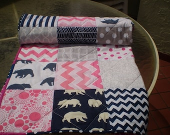 Handmade Baby quilt,grey,navy blue,hot pink,baby girl bedding quilt,woodland,rustic,toddler,organic,chevrons,bears,bright colors, Bear Hug