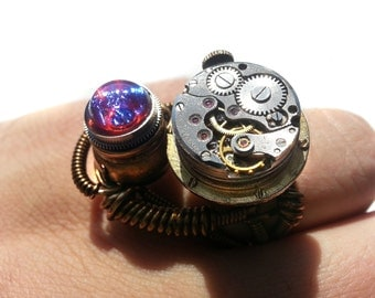One of a kind Steampunk Cosplay Ring with antique watch movement and dragon's breath stone - SIZE 9 US