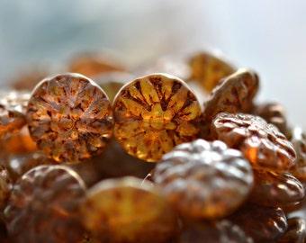 Last Listing! Rustic Beauty - Czech Glass Beads, Champagne, Bronze, Dahlia Flower Mix 14mm - Pc 6