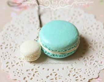 Macaron Keychain - Macaron Phone Charm Bag Charm - Blue and White Macaron - Holiday Gift