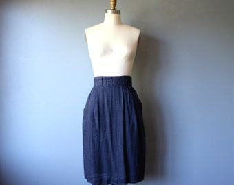 vintage high waist skirt 7/8 / navy blue pleated pencil skirt / banded linen skirt