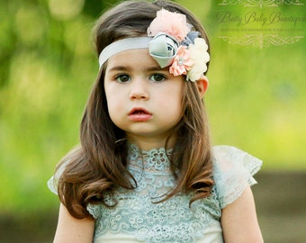 Baby Vintage Style Headband - Baby Peach and Grey Headband - Baby Holiday Headband - Baby Photo Prop - Baby Couture Headband