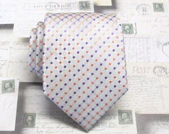 Men's Ties. Silver Purple Coral Pink Dot Mens Tie