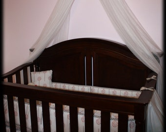Bed Canopy Black OR Brown Polka dot White Crown Girls nursery baby bedroom Tiara Princess FREE SHIPPING