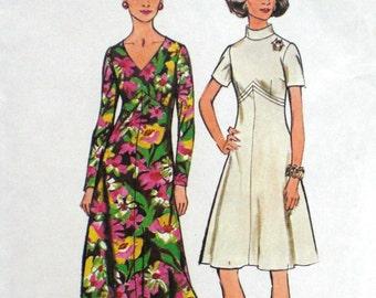 Vintage A Line Dress Pattern Simplicity 5850 Bust 36 Factory Folded V Neckline Funnel Collar