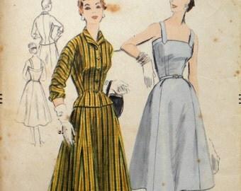 Vintage 1950s Sundress & Jacket Pattern Vogue 8271 Bust 36 Factory Folded Rockabilly