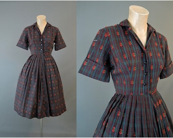 Vintage 1960s Dress Plaid Shirtwaist 34 bust, Cotton Mode O'Day with Full Skirt, Brown and Teal with Red Flowers