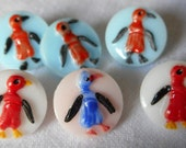 Set of 6 VINTAGE Small Glass Painted Penquin Childrens BUTTONS