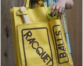 Deadstock Vintage 70's Bright Yellow Heavy Canvas Raquetball Tennis Tote