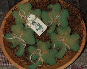 SET OF FIVE Primitive Shamrock Tucks St. Patrick's Day Bowl Fillers Green Ornies
