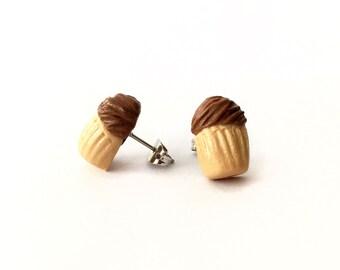 Mocha Cupcake Post Earrings