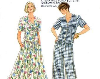 Simplicity 9447 Easy Weskit Top Blouse Skirt Wide Leg Pants Size 6 8 10 12 14 16 Uncut Vintage Sewing Pattern 1995