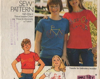 Vintage 1974 Simplicity 6324 t-shirt pattern with bicycle or buzz off transfer / Sz Jr 9/10 / 1974