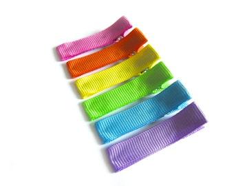 6 Rainbow Hair Clips Hot Pink Hair Clips Orange Hair Clips Yellow Hair Clips Lime Green Hair Clips Blue Hair Clips Purple Hair Clips Summer