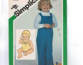 1980s Vintage Child's Sewing Pattern Simplicity 5255 Jiffy Easy Toddler Overalls Romper Size 1/2-1 Breast 19-20 1981 80s