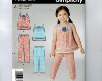 Girls Sewing Pattern Simplicity E1865 1865 Girls Easy Top and Cropped Pants Size 3 4 5 6 7 8 breast 22 23 24 25 26 27 UNCUT  99