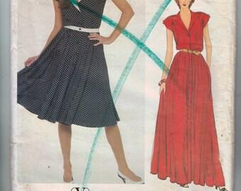 1980s Sewing Pattern Vogue Designer Original 2943 Misses Button Front Dress Valentino Size 8 Bust 31 UNCUT