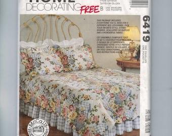 Craft Sewing Pattern McCalls 6419 Home Decor Bedroom Duvet Bedspread Pillowcase Shams Ruffled Dust Ruffle King Double  UNCUT  99