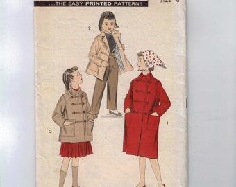 1950s Vintage Girls Sewing Pattern Advance 8098 Girls Casual Coat Size 6 Breast 24 50s  99