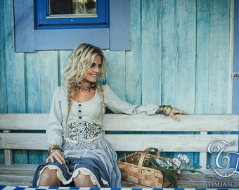 PHEASANT LINEN DRESS - Boho Hippie Bohemian Corset Long sleeve Shabby chic Mori Wedding Bride Folk Dance Burning man - Grey Blue