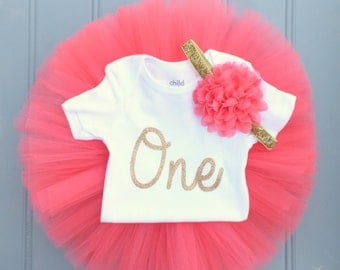 Coral and Gold 1st Birthday Outfit Girl, First Birthday Outfit Girl, 1st Birthday Tutu Set, First Birthday Tutu, Cake Smash Outfit Girl
