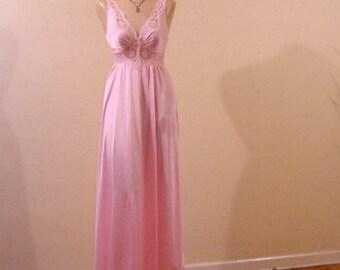 80s Pink Princess Olga Bodysilk Gown Small