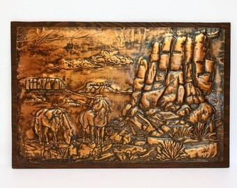Embossed Copper Artwork Southwestern Scene with Horses Mounted on Wood